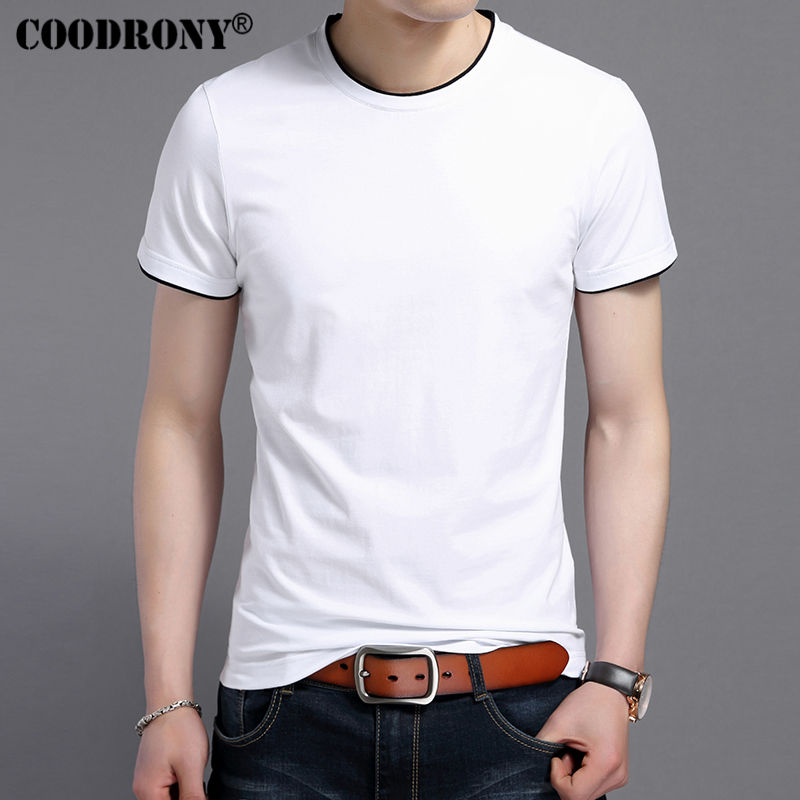COODRONY 2018 Summer New Short Sleeve   T  -  Shirt   Men Soft Cotton   T     Shirt   Men Casual O-Neck Slim Fit Tee   Shirt   Homme Brand Top S7609