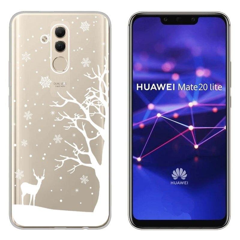 Christmas Festive Santa Reindeer Printed Soft TPU Case Huawei P Smart Y5 Y6 Mate 20 Lite Honor 10 8X Clear Cover