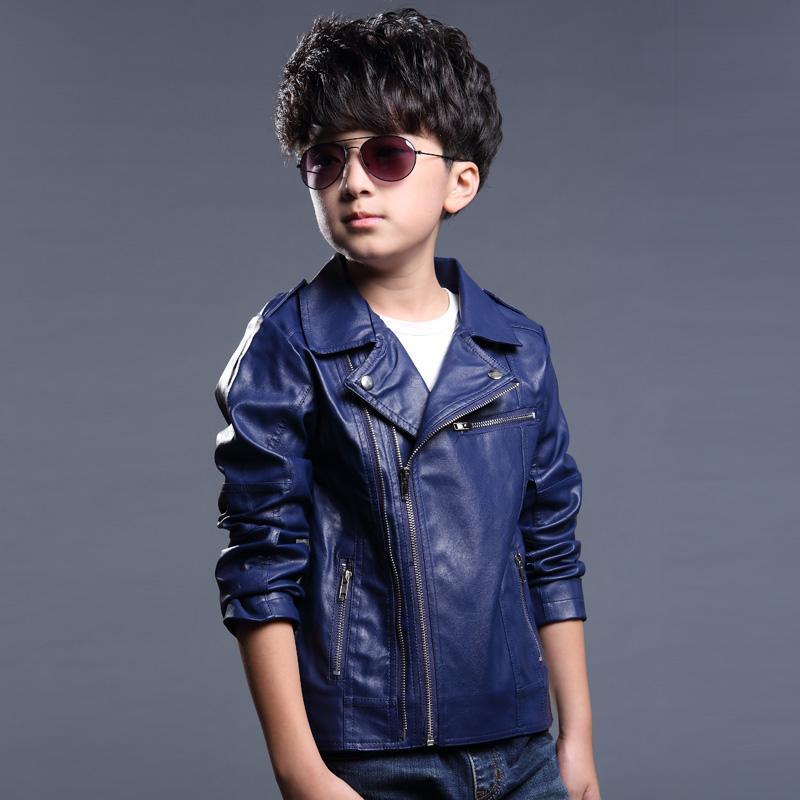 New Baby Boys Jacket Kids Leather Jacket Black And Blue Color Boys