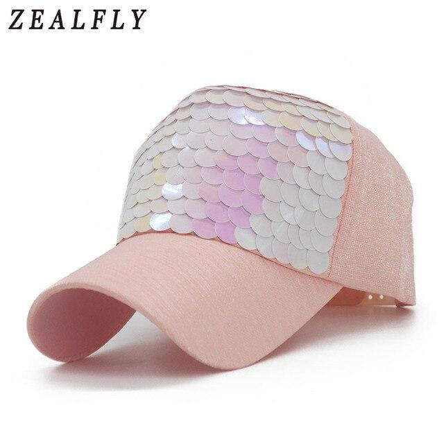 Bling Pink Sequins Female Baseball Cap Brand Swag Casual Sun Visor Hat  Adjustable Snapback Hip Hop Casquette 2018 New 6fa15eec6e9