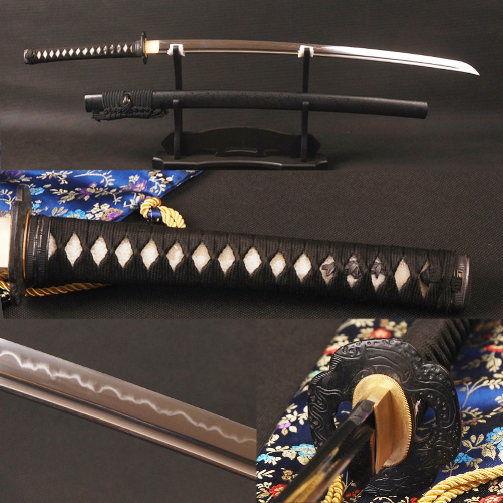 Traditional Handcraft Samurai Sword Vintage Japanese Katana Sharp Full Tang 1095 Carbon Steel Clay Tempered Blade Espada Knife