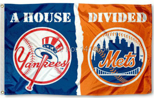 New York Yankees and NY Mets House Divided Flag 150X90CM MLB 3x5 FT Banner 100D Polyester flag grommets 009, free shipping