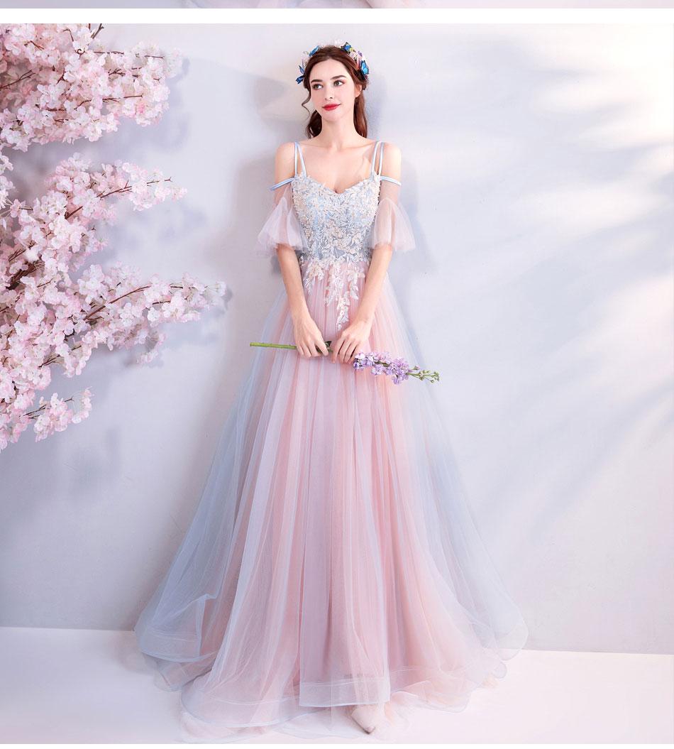 Elegant Off The Shoulder Tulle Long Bridesmaid Dress 7