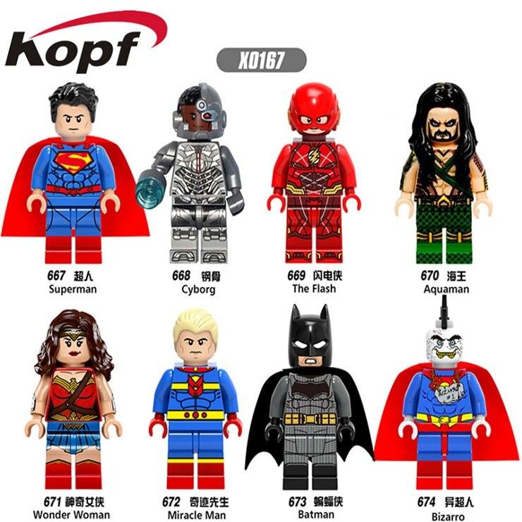 Single Sale Building Block Super Heroes The Flash Aquaman Wonder Woman Miracle Man Bizarro Batman Figures Toys For Kids X0167