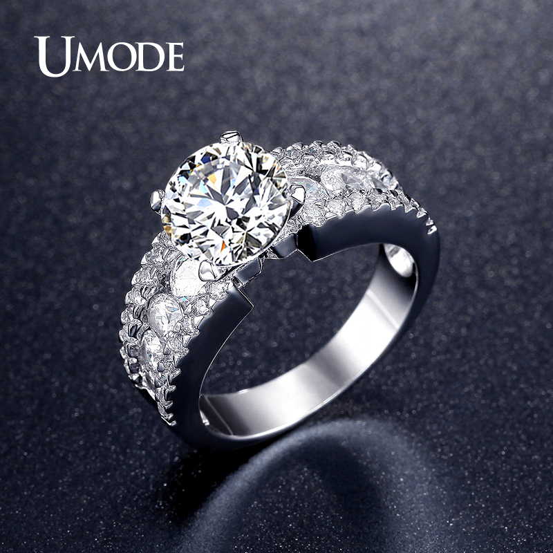font b UMODE b font Romantic Cubic Zirconia Wedding Engagement font b Rings b font