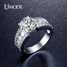 UMODE Romantic Cubic Zirconia Wedding Engagement Rings For Women white Gold Plated Fashion Jewelry Female Bijoux