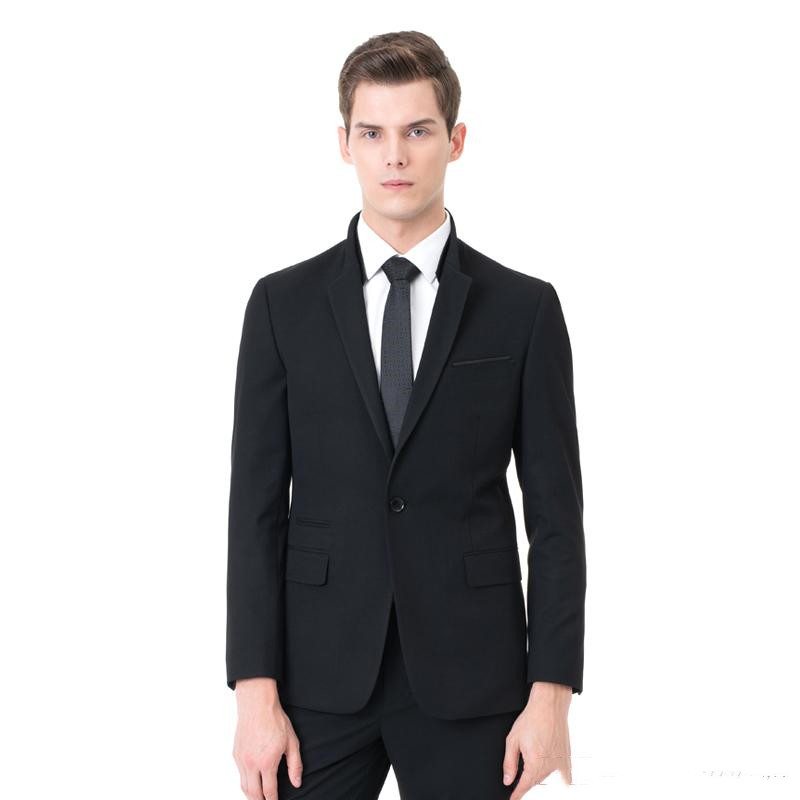 Newest Slim Fit Groom Tuxedos Groomsmen One Button Black Side Vent Wedding Best Man Suit Men's Suits(Jacket+Pants) Terno
