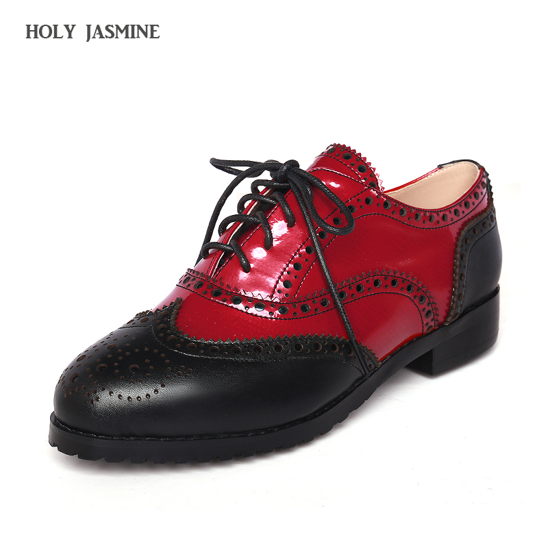 Women Lace-Up Oxfords Shoes 2018 Spring New Vintage Brand Genuine Leather Women Casual Brogue Shoes for Women Handmade Shoes women oxfords shoes 2017 new brand genuine leather women lace up casual brogue shoes for women handmade flats shoes csa068 02