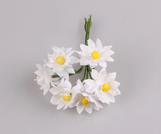 Fabric artificial silk small white flower with yellow stamensdiy craft table arrangements party decorationgarland accessories in artificial dried fabric artificial silk small white flower with yellow stamensdiy craft table arrangements party decoration mi