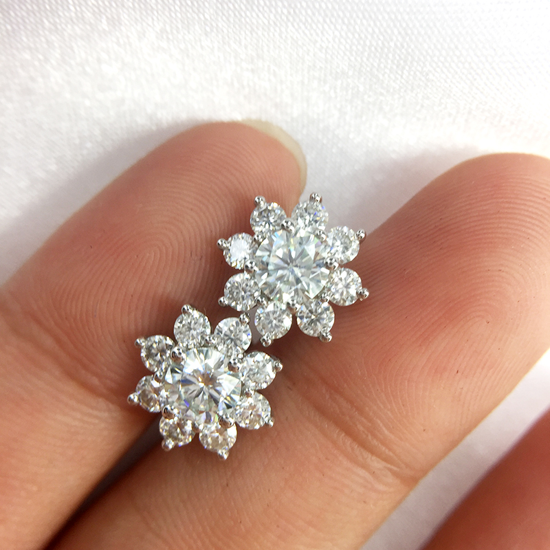 Custom order of 14k white gold 0 4ct 4 5mm round moissanite earring
