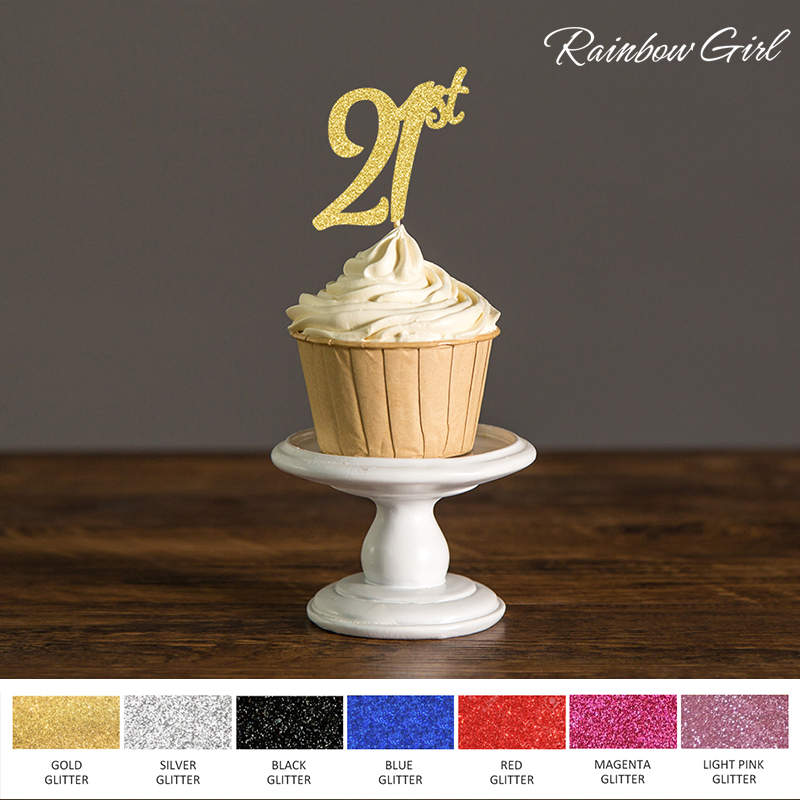 21st Birthday DecorationsTwenty One Cupcake ToppersParty Decor Black Gold Silver