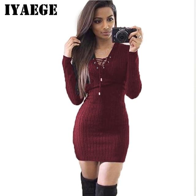 0e77a767cba IYAEGE Autumn Women Sexy Sweater Dress Casual Long Sleeve Knitted Dress  Tunic Jumper Bandage Party Dress Robe Hiver Vestidos