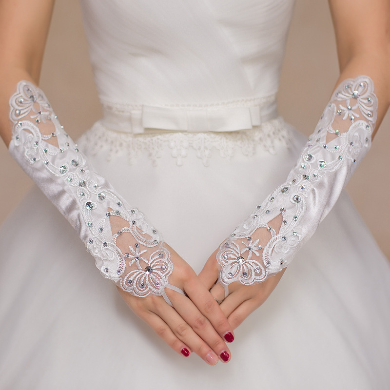 2018 High Quality Crystal Elbow Bridal Wedding Gloves White <font><b>Sexy</b></font> Sequines Bridal Gloves Lace Fingerless Wedding <font><b>Accessories</b></font> image