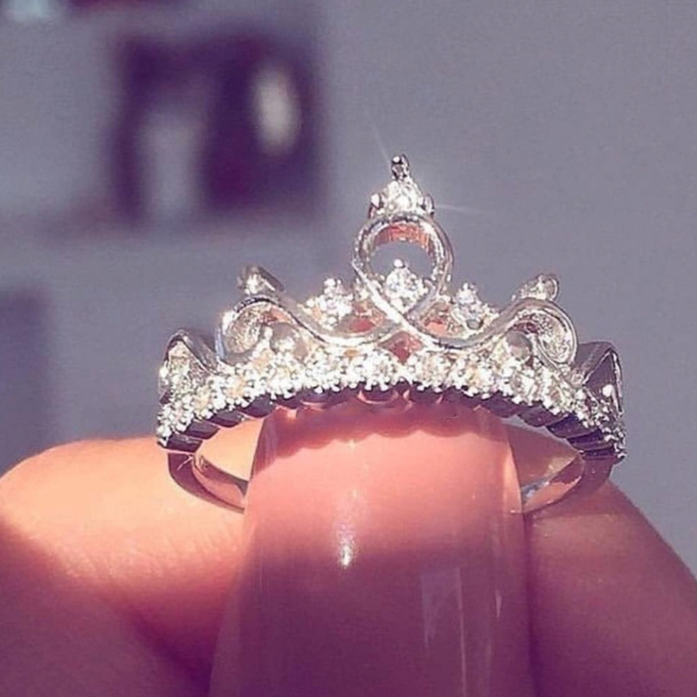 Fashion Luxury Crown Ring Statement Women Wedding Zircon Engagement Ring Trend Geometric Rose Gold Silver Romantic Party Gift