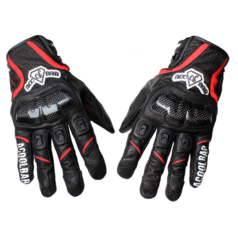 Brand Real Leather Carbon Fiber Breathable Motorcycle Gloves Motocross Racing Gloves Outdoor Cycling Protective Gears Gloves