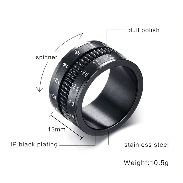 Unique Mens Rings in Black Stainless Steel SLR Telephoto Camera Lens