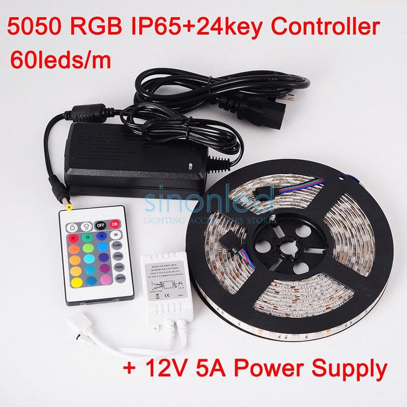 ФОТО 5M RGB SMD 5050 Waterproof 60LEDs/M DC12V LED Strip Light 300 LEDs+ 24Key IR Controller+12V 5A Power Adapter