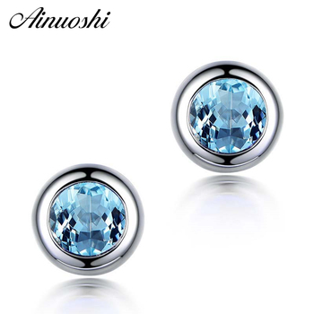 AINUOSHI Natural Blue Topaz Stud Earring Bezel Setting 1 Carat Round Cut Blue Gems Silver Pierced Earring Gift for Women Jewelry