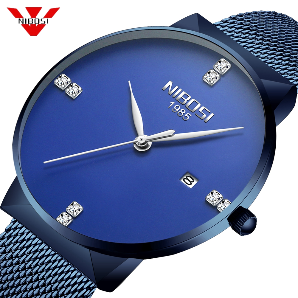 NIBOSI Mens Watches Top Brand Luxury Blue Quartz Watch Men Diamonds Slim Mesh Steel Waterproof Sport Watch Relogio Masculino