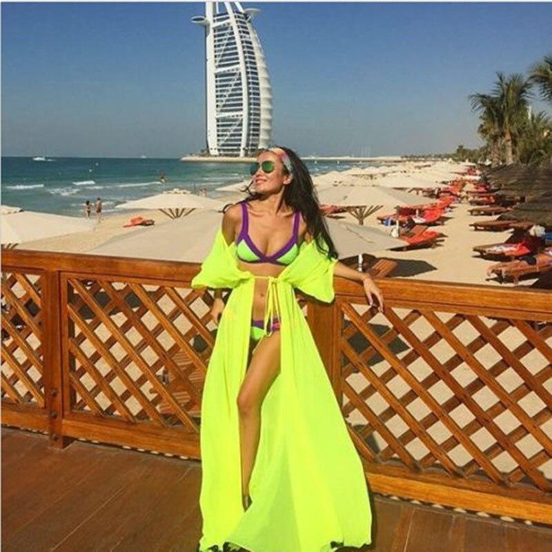 Парео пляжное покрывало Цветочная вышивка бикини накидка купальник женский халат пляжный кардиган купальный костюм накидка - Цвет: Short Sleeve Yellow