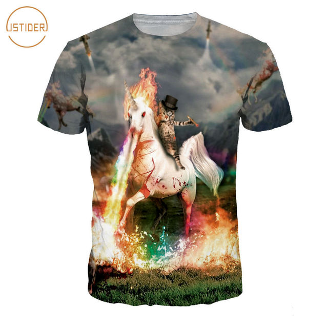 ISTider 3D T Shirt Cat Ride Spitfire Unicorn Printing Hip Hop T-Shirt Men  Women 4224d2c01f9c