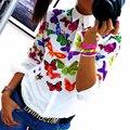 Moda Solapa Manga Larga Floral Impresión Mariposas Top Estilo de Verano Camisetas para Mujeres Mujer Oficina LJ3981E