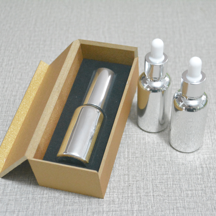 4pcs 30ml High temperature silver plated dropper bottle With wooden box,empty glass essential oil bottle, perfume subpackage jar 2016 hot fashion women wallets handbag solid pu leather long bag cheap famous clutch lady brand red cash phone card coin purse