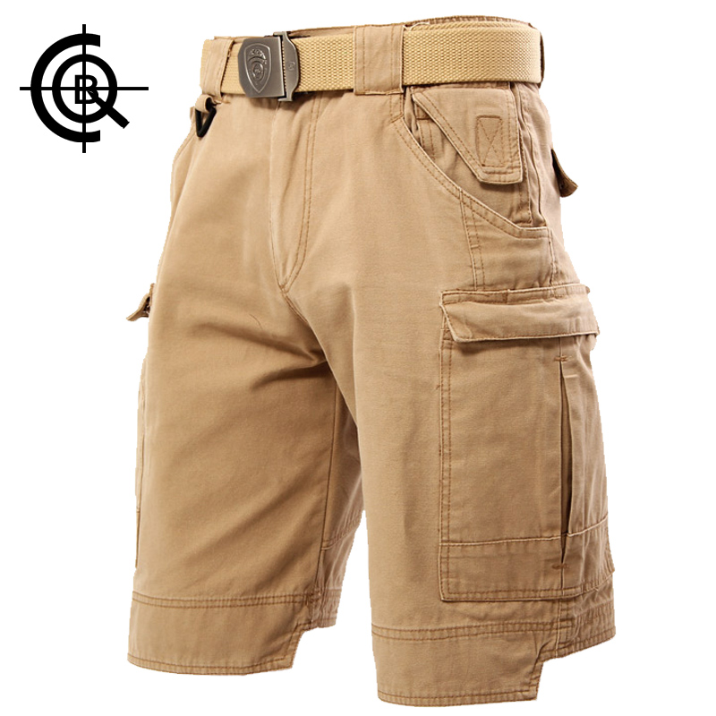 ФОТО CQB Outdoor Overalls Men's Tactical Camping Hiking Fishing Shorts Sports Scratch-resistant Cotton Multi Pocket Shorts KZ0033