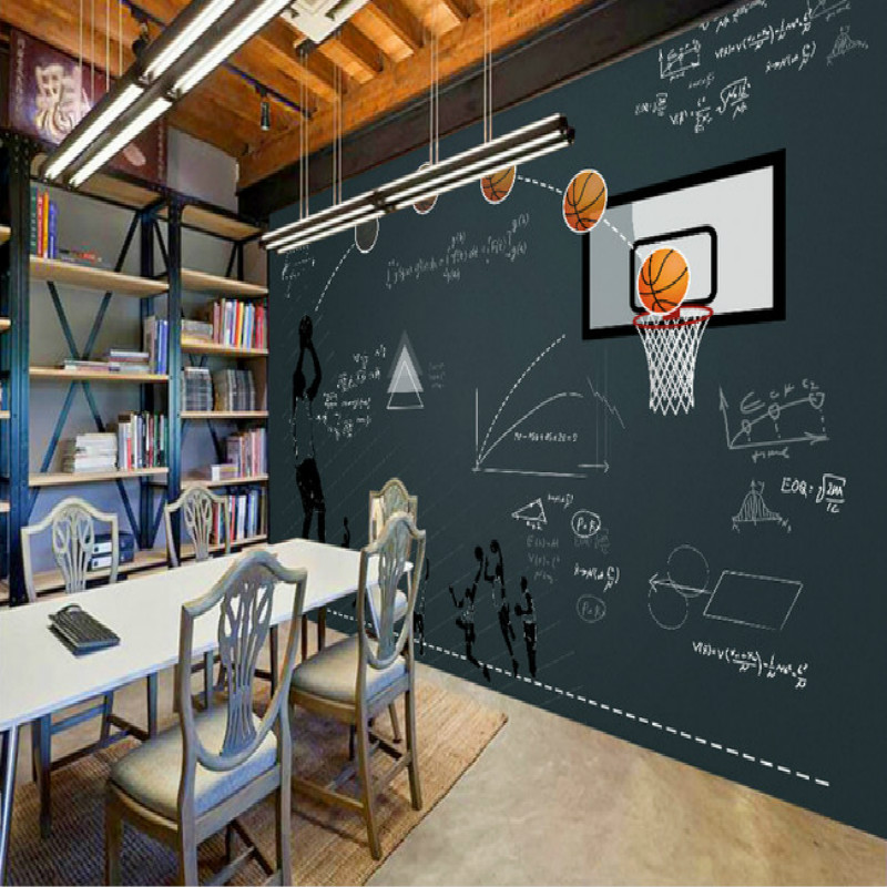 Basketball Blackboard Function Restaurant Bar Large Mural 3D Wallpaper Bedroom Backdrop Painting Three Dimensional