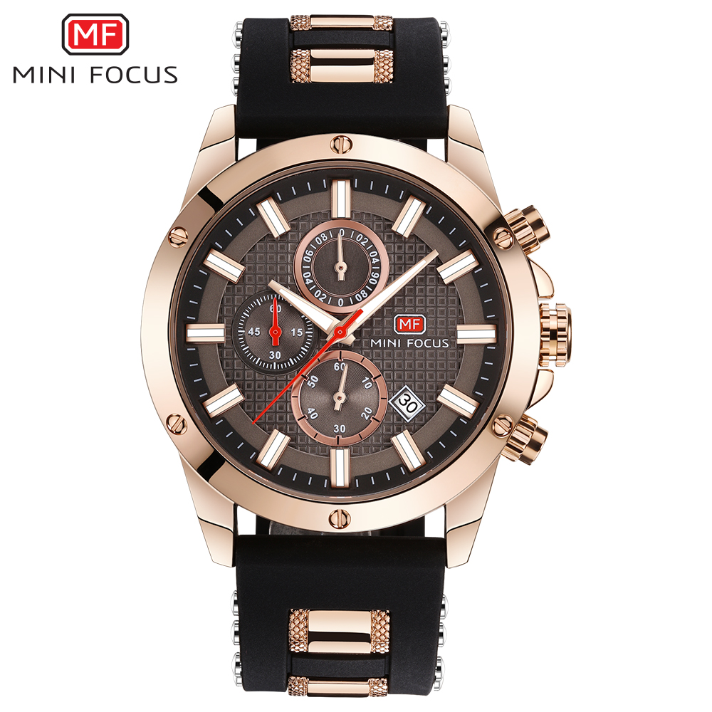 MINIFOCUS Stylish Sport Mens' Watches Seiko Chronograph Wristwatch For Men Popular Black And Blue Silicone Chain Clock Male все цены