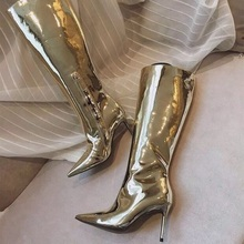 Sexy Mirror Leather Knee High Boots Pointed Toe Side Zipper Tight High Boots For Women Fashion Club Dress Shoes Big Size memunia 2018 new arrival knee high boots for women pointed toe suede leather boots zipper lace up autumn boots fashion shoes