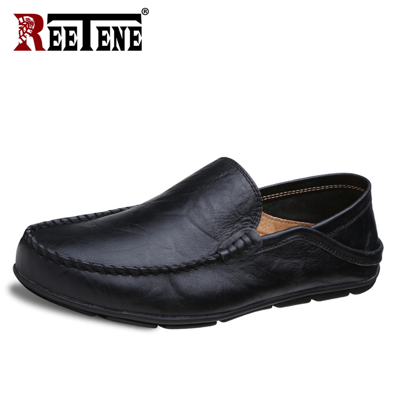 REETENE Big Size 35-47 Slip On Casual Men Loafers Spring And Autumn Mens Moccasins Shoes Genuine Leather Men'S Flats Shoes New men s casual shoes loafers spring autumn slip on loafers men black mens shoes casual mens loafers rivet big size 46 47 48 socks