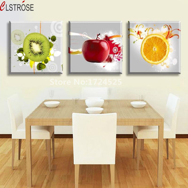 CLSTROSE 3 Panels For Apple For Lemon Fruit Kitchen Wall ...