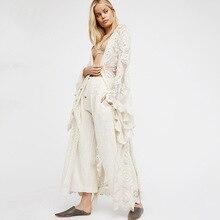Womens Blusas White Blouse Bell Sleeve Floral Kimono Cardigan Long Bohemian Kimonos Outwear Loose Beach Maxi Blouses Tops