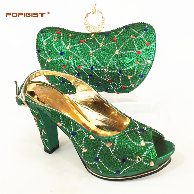 New Arrival Green Color Woman Italian Shoes and Bags Sets Shoes and Bag Set African Sets