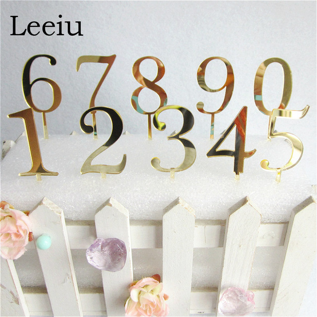 Leeiu Gold Number 0 1 2 3 Birthday Cake Topper Acrylic Children Anniversary Party Decoration