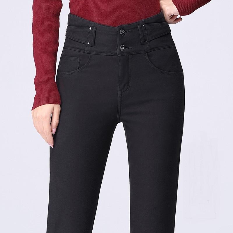 Женские брюки, зимние, матовые, толстые, шерстяные штаны, верхняя одежда, кашемировые, шерстяные джинсы, обтягивающие, с высокой талией, элас... - 6