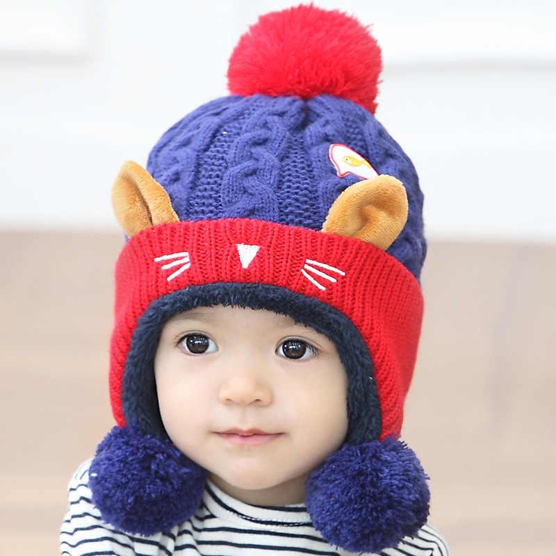 ... Cute Baby Winter Hat Warm Infant Beanie Cap For Children Boys Girls  Animal Cat Ear Kids ... a00921f17908