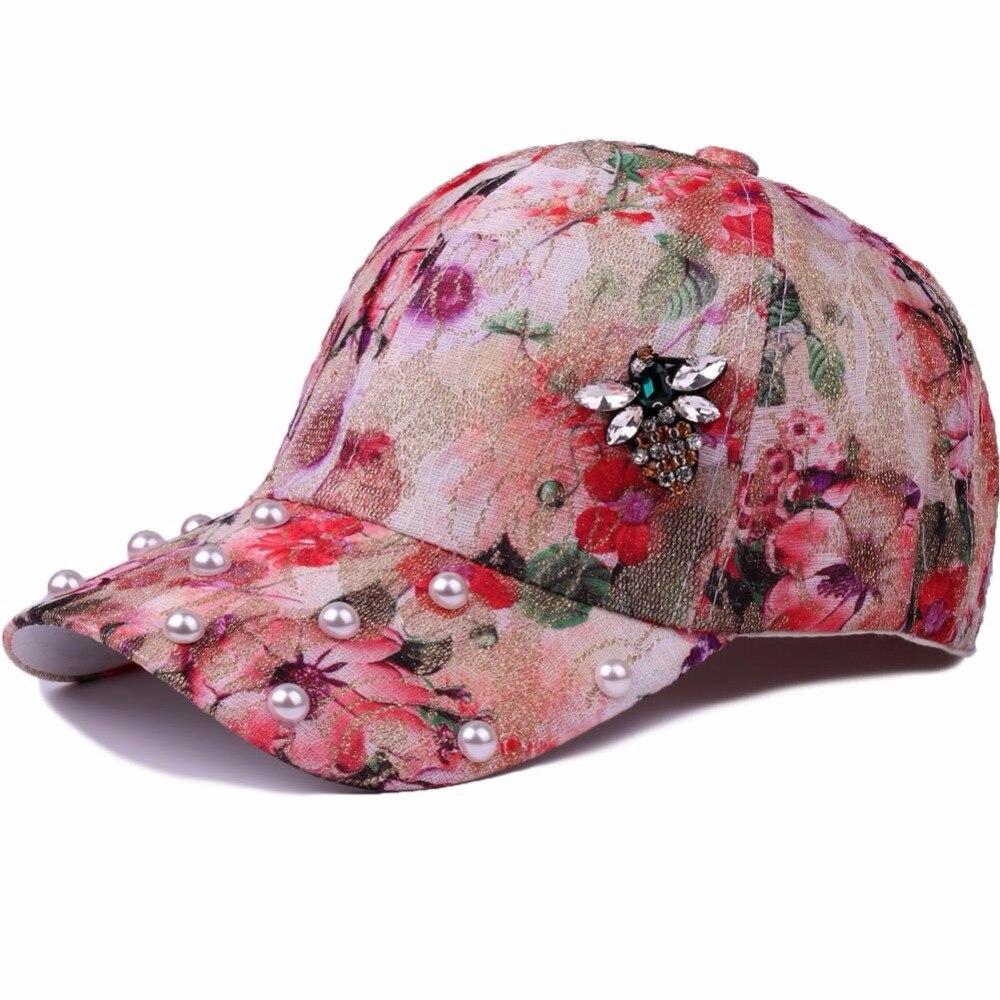 Spring Summer Baseball Cap Women Glass Drill Bee Snapback Hat Cap For Girls Casquette Gorras Floral Pearl Bone Hip Hop Cap