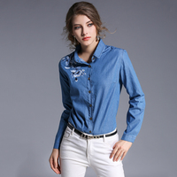 2017 Solid Embroidery Women S Tops Summer Fashion Denim Shirts Casual Blue Floral Blouses Feminina Turn