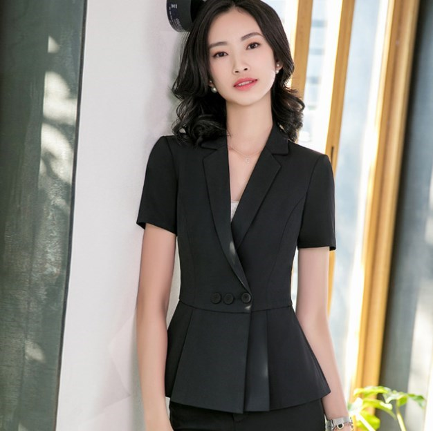 Summer Formal Mini Skirt Suits Two Piece Sets Outfits For Ladies Office Work Wear Professional Short Sleeve Blazer with Skirts