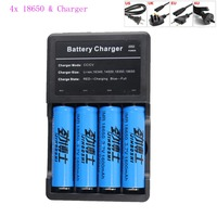 4pcs 1600mAh 3.7V 18650 Battery Li ion batteria Rechargeable Battery For LED Flashlight Torch + Charger For 18650 Battery
