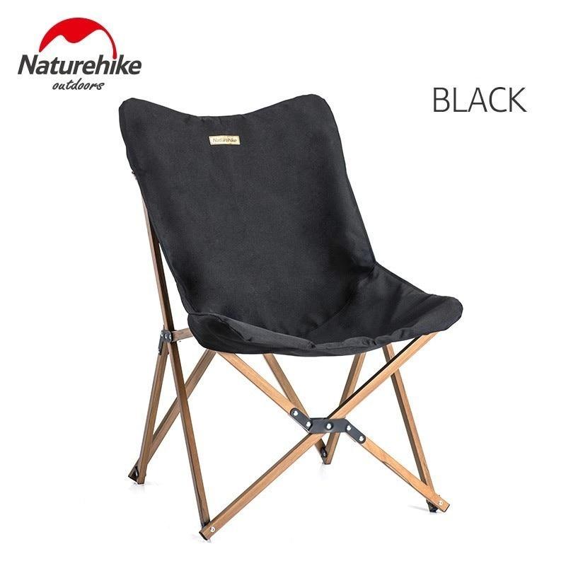 Naturehike деревянное рыболовное кресло может для офиса, кемпинга, светильник, деревянное зерно, кресло для сна, пляжное кресло, рыболовное, уличное, складное кресло - Цвет: Black