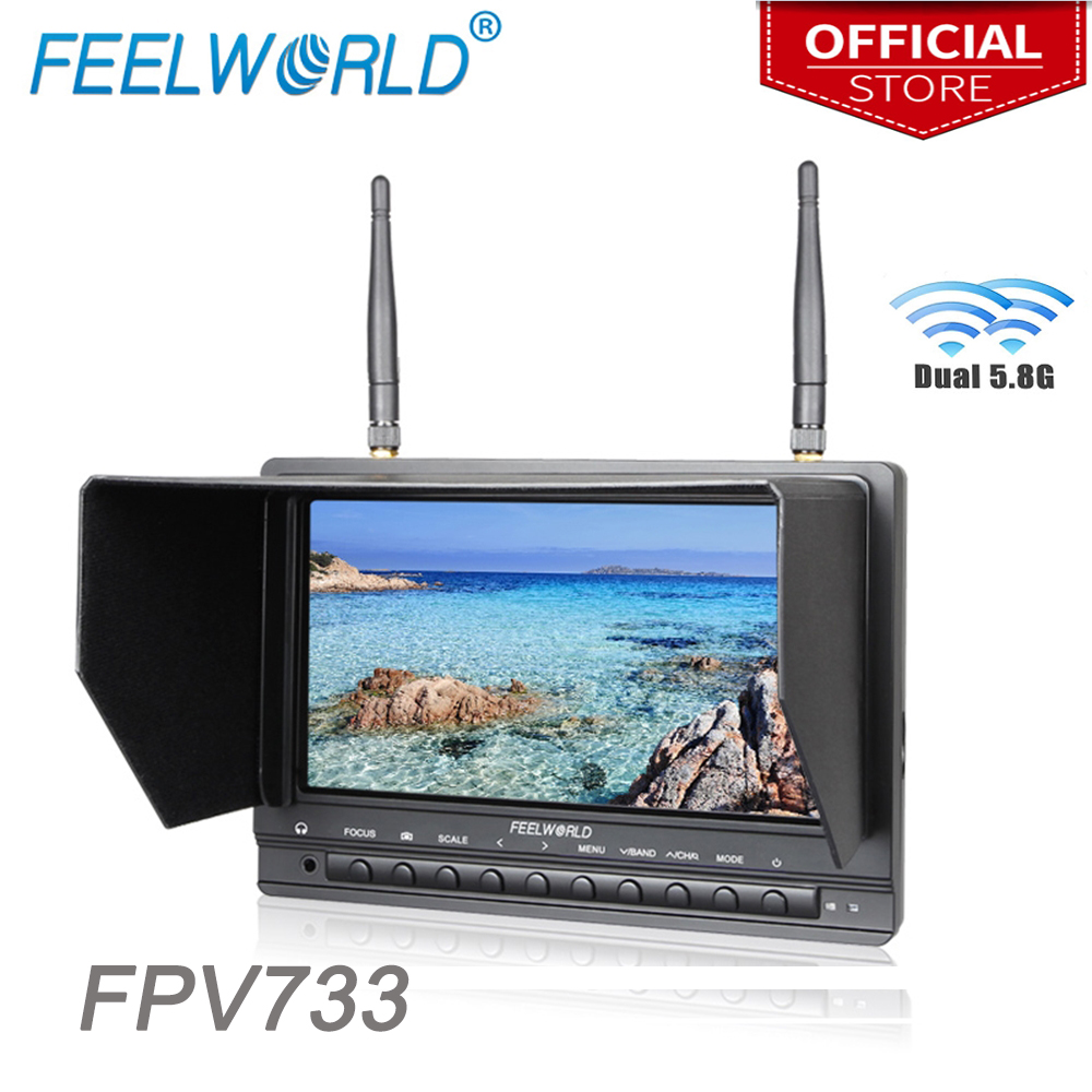 Feelworld 7 Inch High Brightness Wireless Monitor for Drone UAV with Built-in Battery Dual 5.8G 32CH Diversity Receiver FPV733 feelworld fpv1032 10 1 wireless 5 8g 32ch drone rc rf receiver fpv monitor hdmi