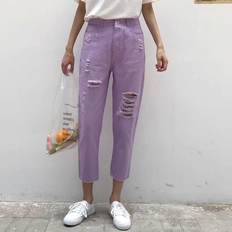 KYMAKUTU Hole Ripped <font><b>Purple</b></font> <font><b>Jeans</b></font> Women Ankle-length Denim Pencil Pants 2018 Summer New Casual Female Pantalones Vaqueros Mujer
