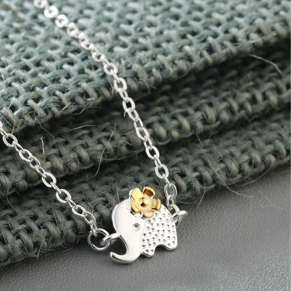 CHENGXUN Cute Flower&Elephant Pendant  Necklace for Children Kids Girls Birthday Gift Pendants Long Chain Choker Jewelry