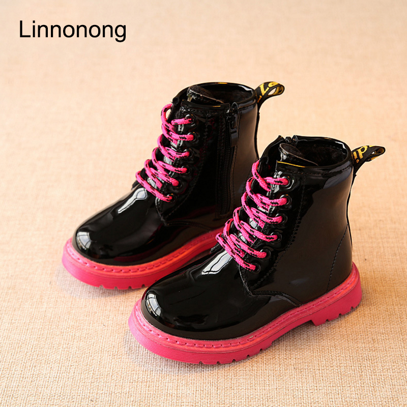Hot Winter Children Snow Boots Fashion Kids Girls Boys Lace up Martin Boots Plush Keep Warm Antislip Patent Leather Boots Shoes babyfeet 2017 winter fashion warm plush high top genuine cow leather children ankle girls snow boots kids boys shoes sneakers