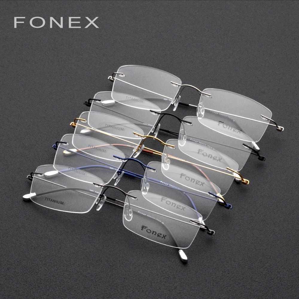 df2491360e ... Rimless Glasses Frame Men Titanium Ultralight Prescription Square  Eyeglasses Women Myopia Optical Frame Korean Screwless Eyewear ...