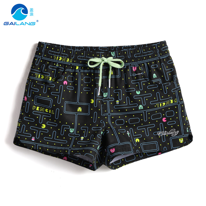 Casual Womens Swim Trunks Breathable Quick Dry Printed Beach Shorts Dogs Selfie Summer Boardshorts with Mesh Lining