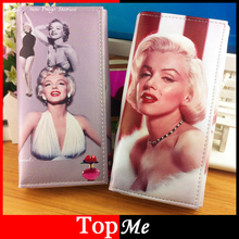 Brand Clutch Women Wallets Monroe Hepburn Pattern Cards Holder Lady Purse Bags Burse Carteira Feminina Billeteras Portefeuille